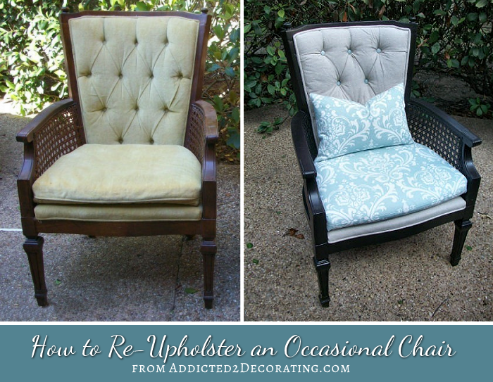 Reupholstered Cane Chair With Tufted Back