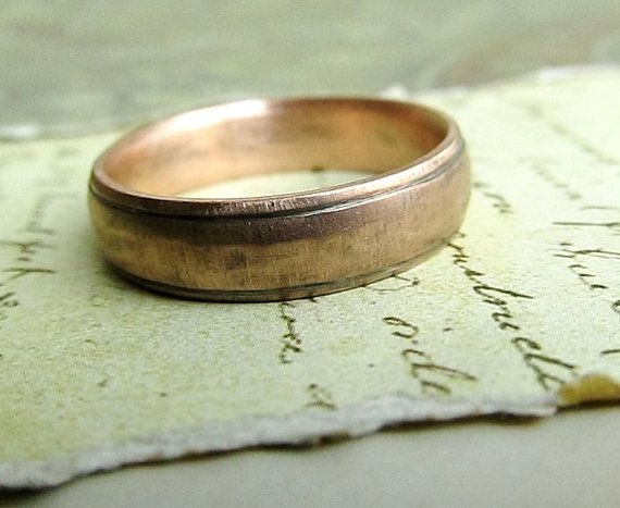 Rustic Handmade Gold Wedding Band in 14k Rose Gold Comfort Fit