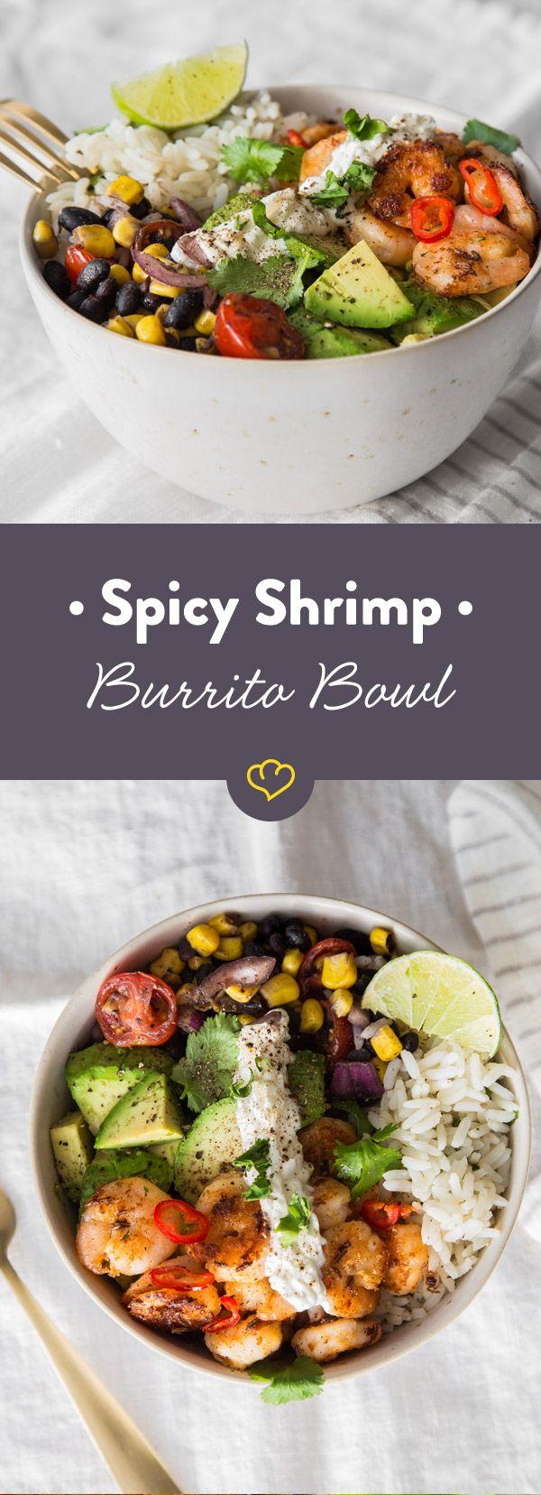 Meer-Geschmack: Spicy Shrimp Burrito Bowl mit Limetten-Koriander-Reis