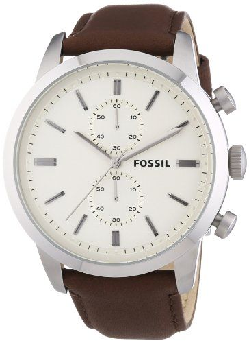 c6418ef37 Now available Fossil Men's FS4865 Townsman Stainless Steel Watch with Brown  Leather Band