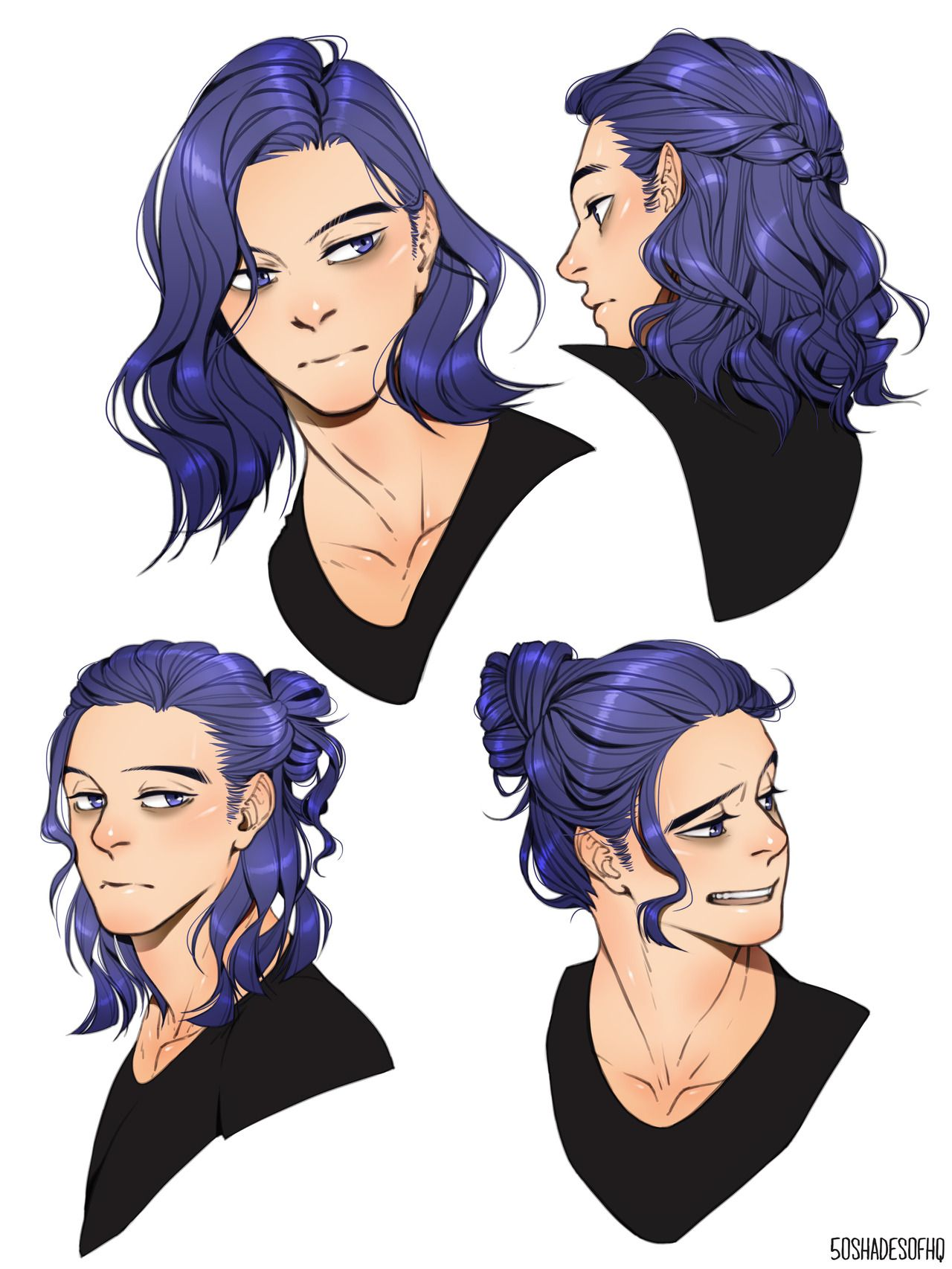 Shinsou How to draw hair, Long hair drawing, Hair reference