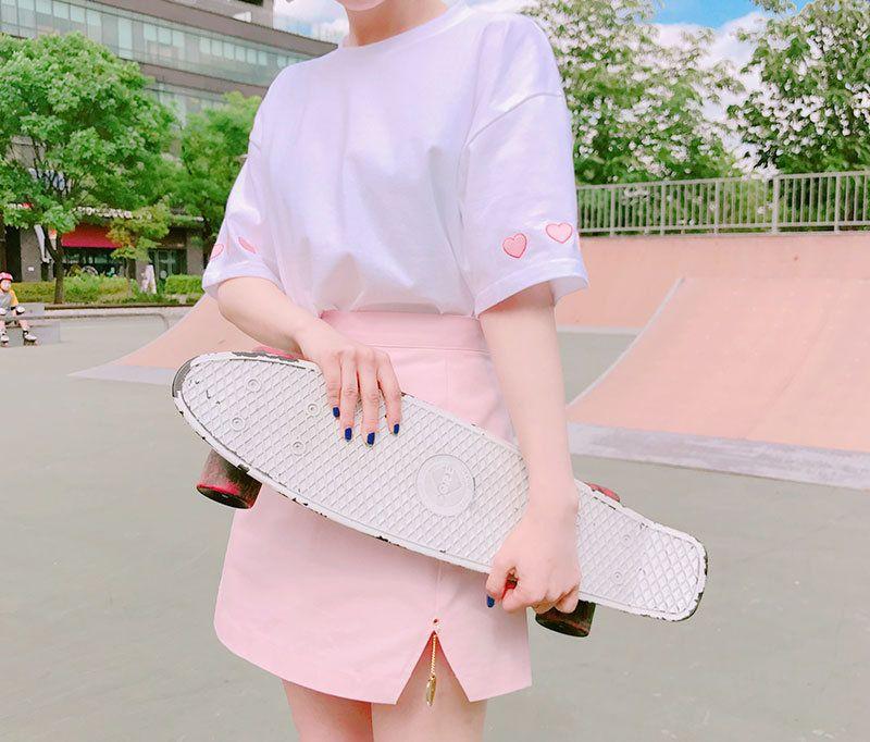 Buy icecream12 Heart Print Sleeve T-Shirt | YesStyle