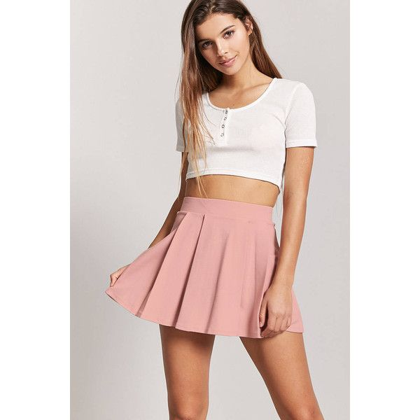 3a827ce1c Forever21 Box Pleat Mini Skirt ($13) ❤ liked on Polyvore featuring skirts,  mini