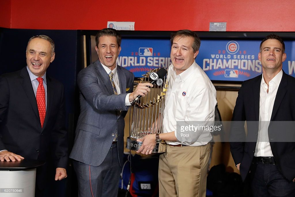 Chicago Cubs owner Thomas S. Ricketts celebrates with The Commissioner's Trophy after the Chicago Cubs defeated the Cleveland Indians 8-7 in Game Seven of the 2016 World Series at Progressive Field on November 2, 2016 in Cleveland, Ohio. The Cubs win their first World Series in 108 years.