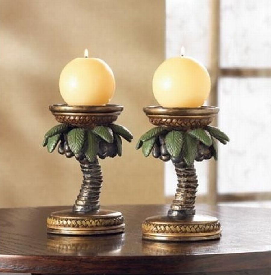 Candle Holder Palm Tree Polyresin Tropical Crafted Tabletop Decor ...