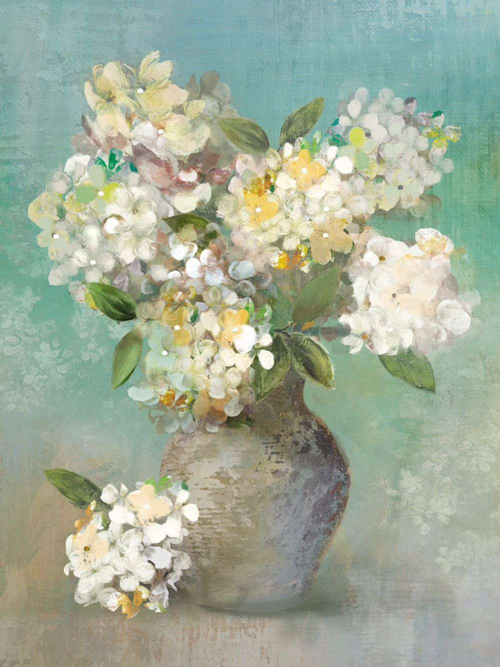Pale green hydrangeas in pots canvas oil painting living room ...