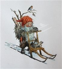 Gnome Gathering Wood                   Nisse på spark  (Gnome) - Kjell Midthun