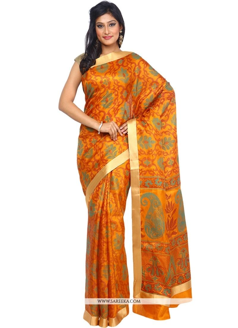 Get going with this majestic and wonderful piece and make your dream attire look richer to your persona. Look ethnic in this affluent orange tussar silk classic designer saree. Beautified with patch b...
