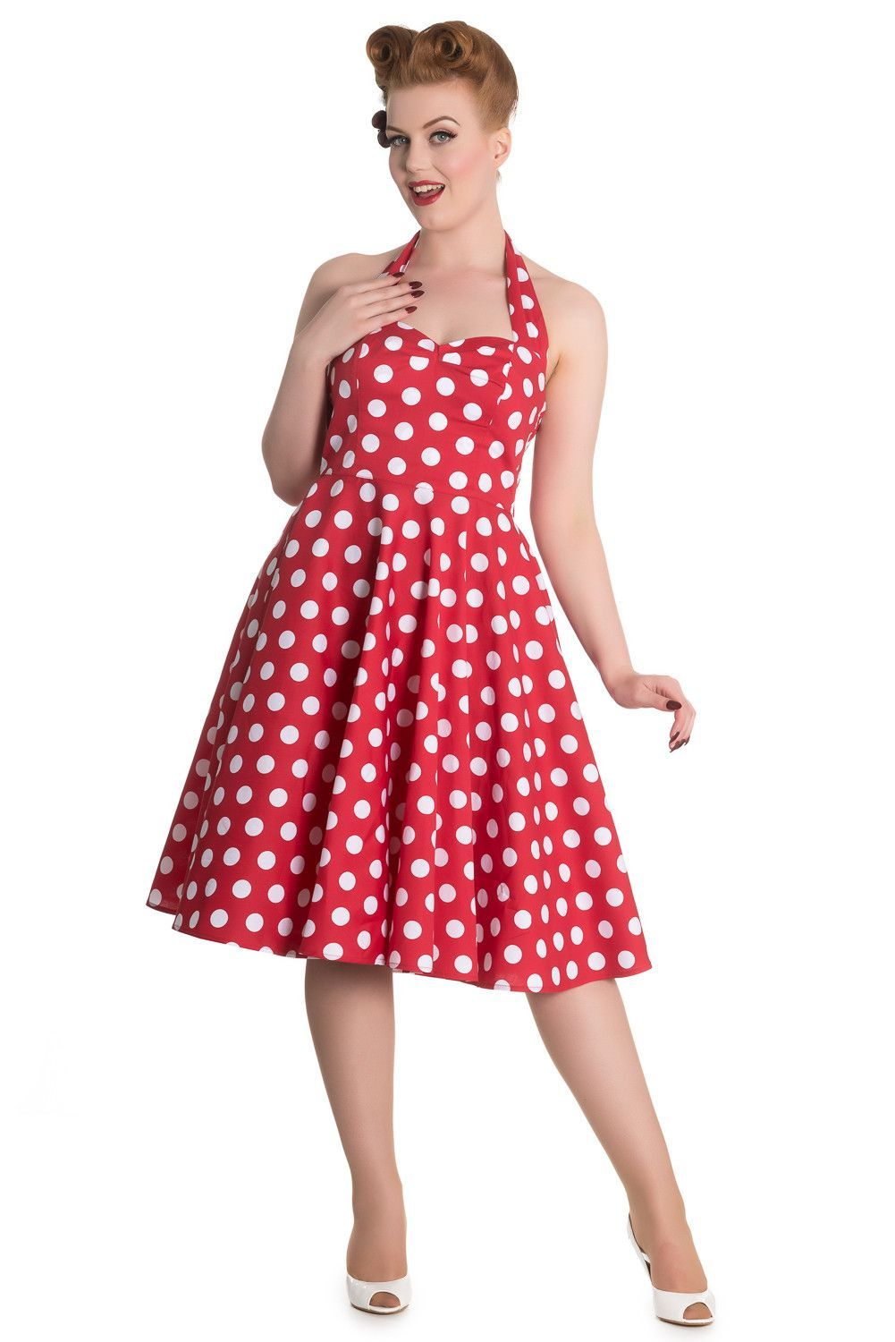 60\'s Red and White Dots Romance Halter Flare Party Dress | México