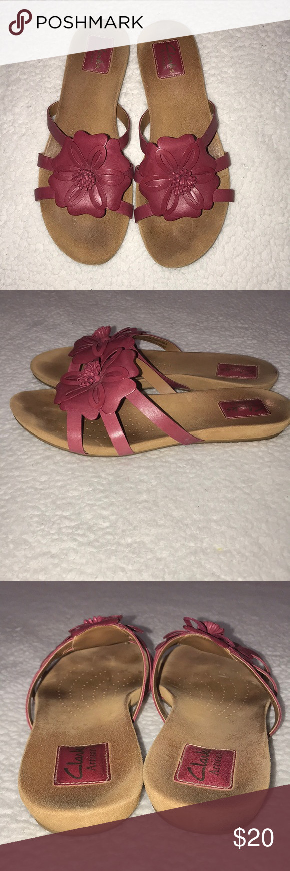 35ab53699940dd Clarks Artisan Pink Flower Sandals Size 8.5 Clarks Artisan Pink and Tan  Flower Floral Sandals Size 8.5 Grand 63 Cute comfortable sandals Clarks  Shoes ...