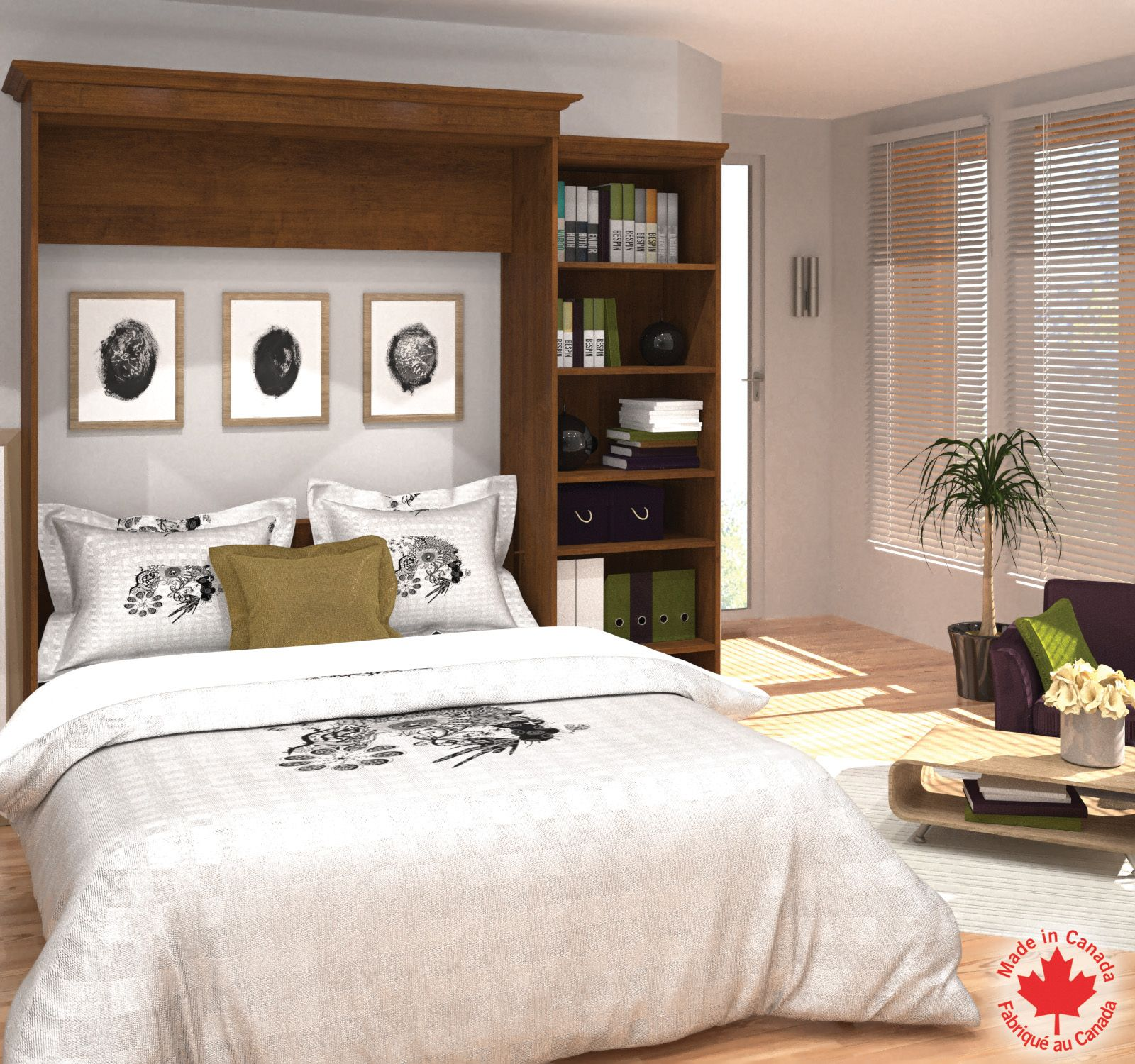 Bestar 92'' Queen Wall bed kit in Tuscany Brown Chambre