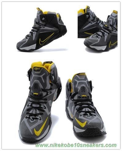 uk availability bfca5 3548f Black Yellow 684593-605 Nike Lebron 12