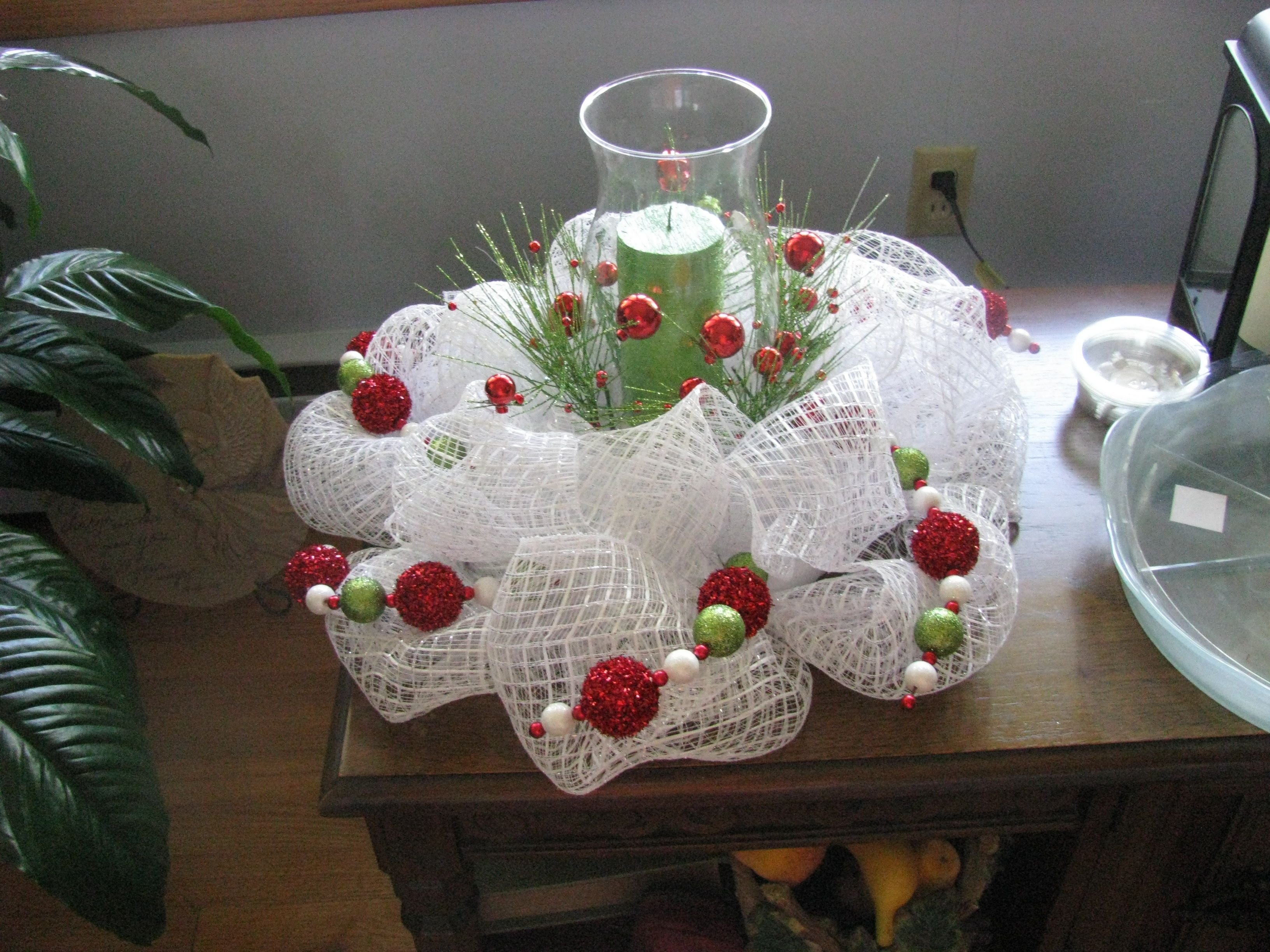 Deco mesh centerpiece christmas pinterest
