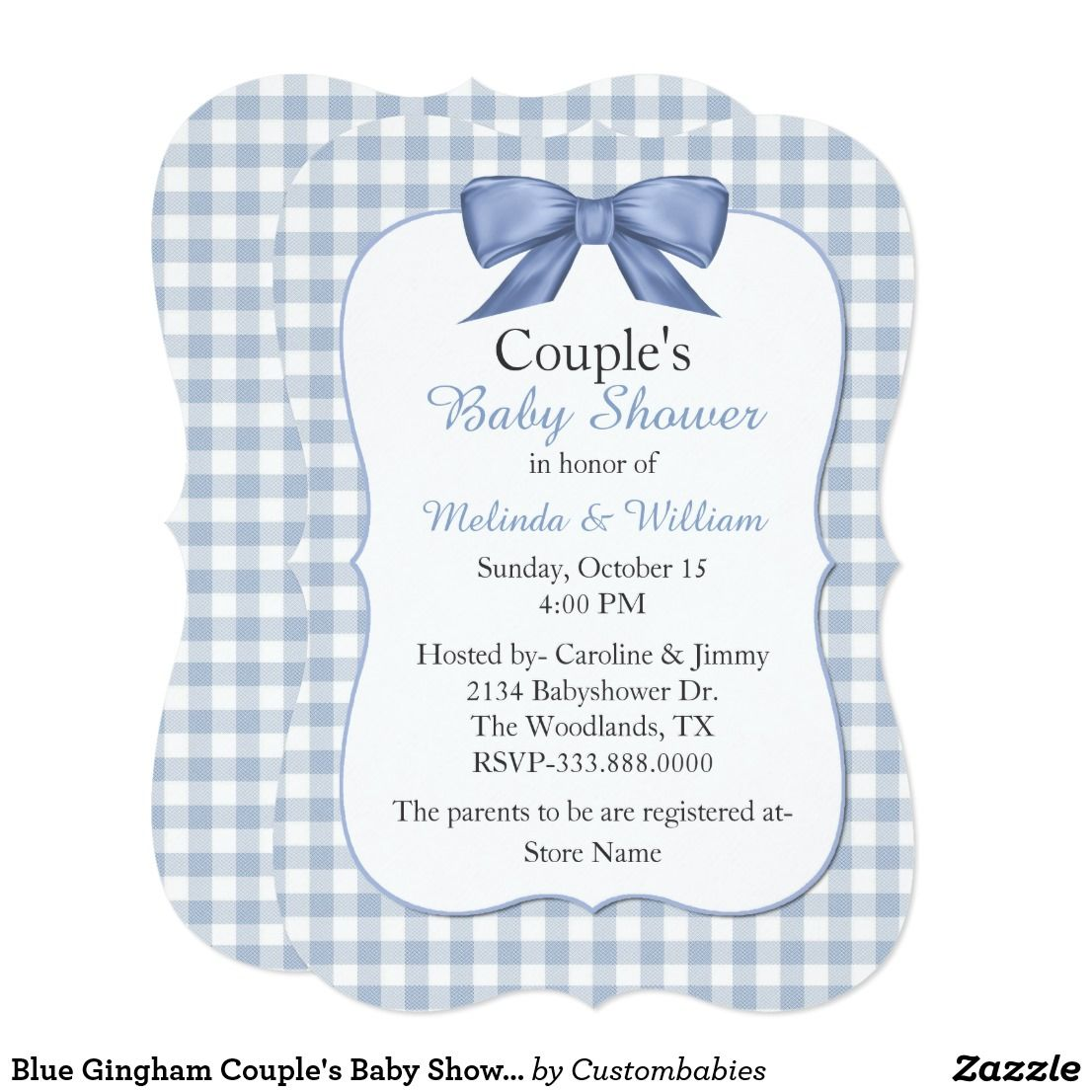 Blue Gingham Couple\'s Baby Shower Invitation | Baby boy | Pinterest ...