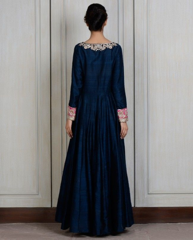 Navy Blue Embroidered Kalidar- Buy Couture,Kalidars,New Arrivals Online   manishmalhotra.in