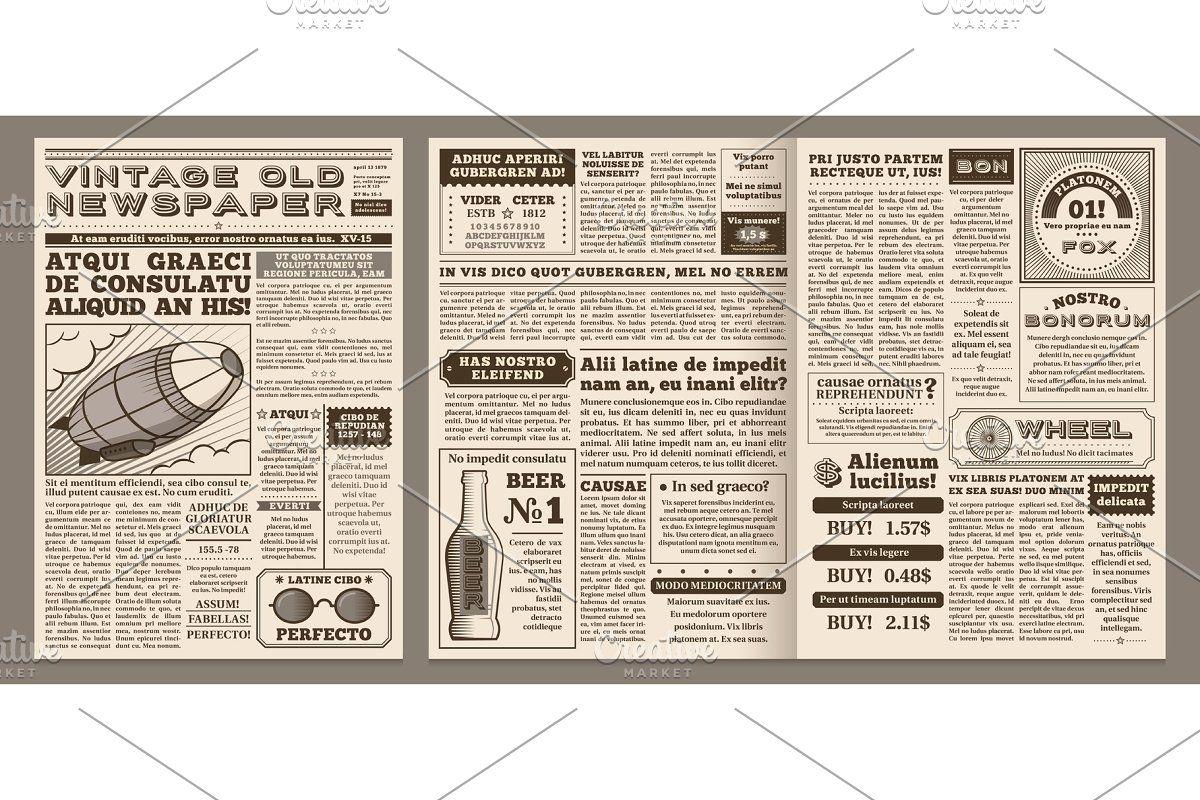 Vintage Newspaper Template Retro Newspaper Template Vintage Newspaper Blank Newspaper