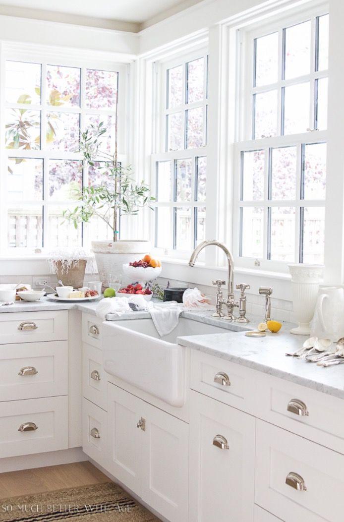White Kitchen Farmhouse Sink white kitchen. chrome hardware. farmhouse sink. | kitchens