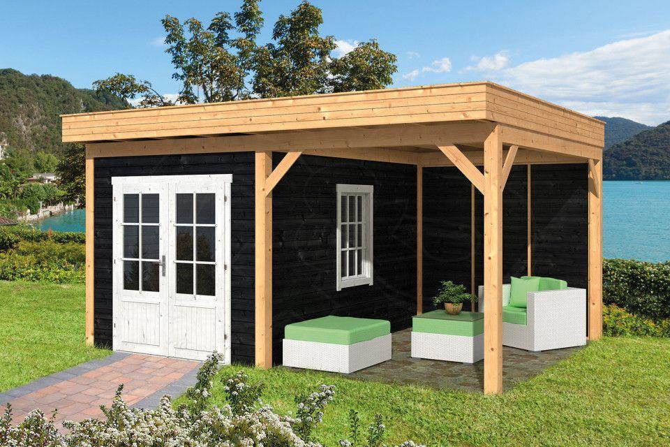 Flachdach Gartenhaus mit Terrasse in Schwarz 500x400cm   Q&S
