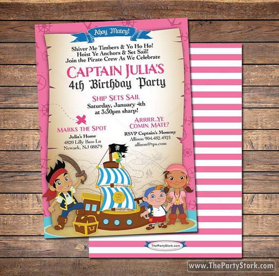 Listing Is For ONE 5 X 7 PRINTABLE Girls Jake And The Neverland Pirates Birthday Party Invitation YOU Print Comes With Free Matching Back You