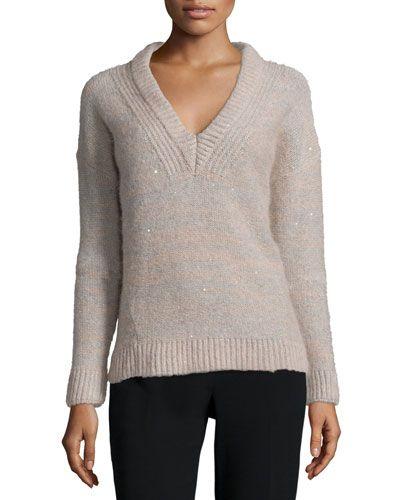 TAVE2 Peserico Melange Sparkled V-Neck Sweater
