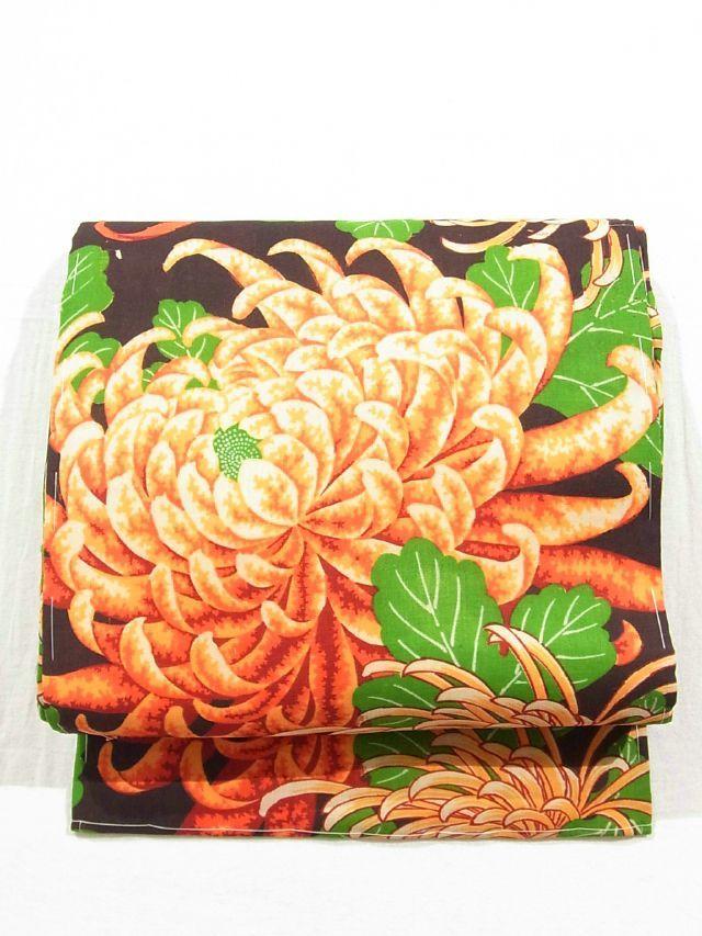 Alluring Large Kiku Pattern Vintage Muslin Nagoya Obi