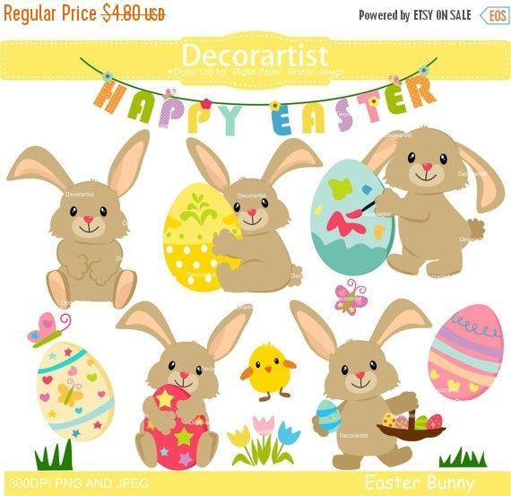 ON SALE Easter clip art bunny clip arteaster by Decorartistclipart