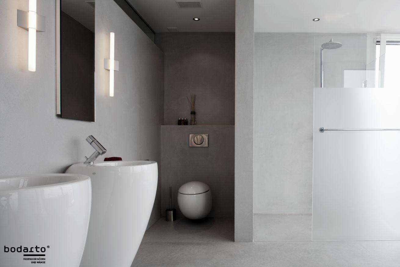 Bad Mit Hellgrauer Boden Und Wandbeschichtung Ist Edel Und Puristisch Bodarto Ist Exklusiv In Der Schweiz E Wandbeschichtungen Badezimmer Bodenbeschichtung
