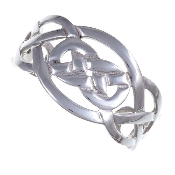 Wide Celtic knot open bangle - a polished pewter openwork cuff with tapering ends and Celtic knotwork design.