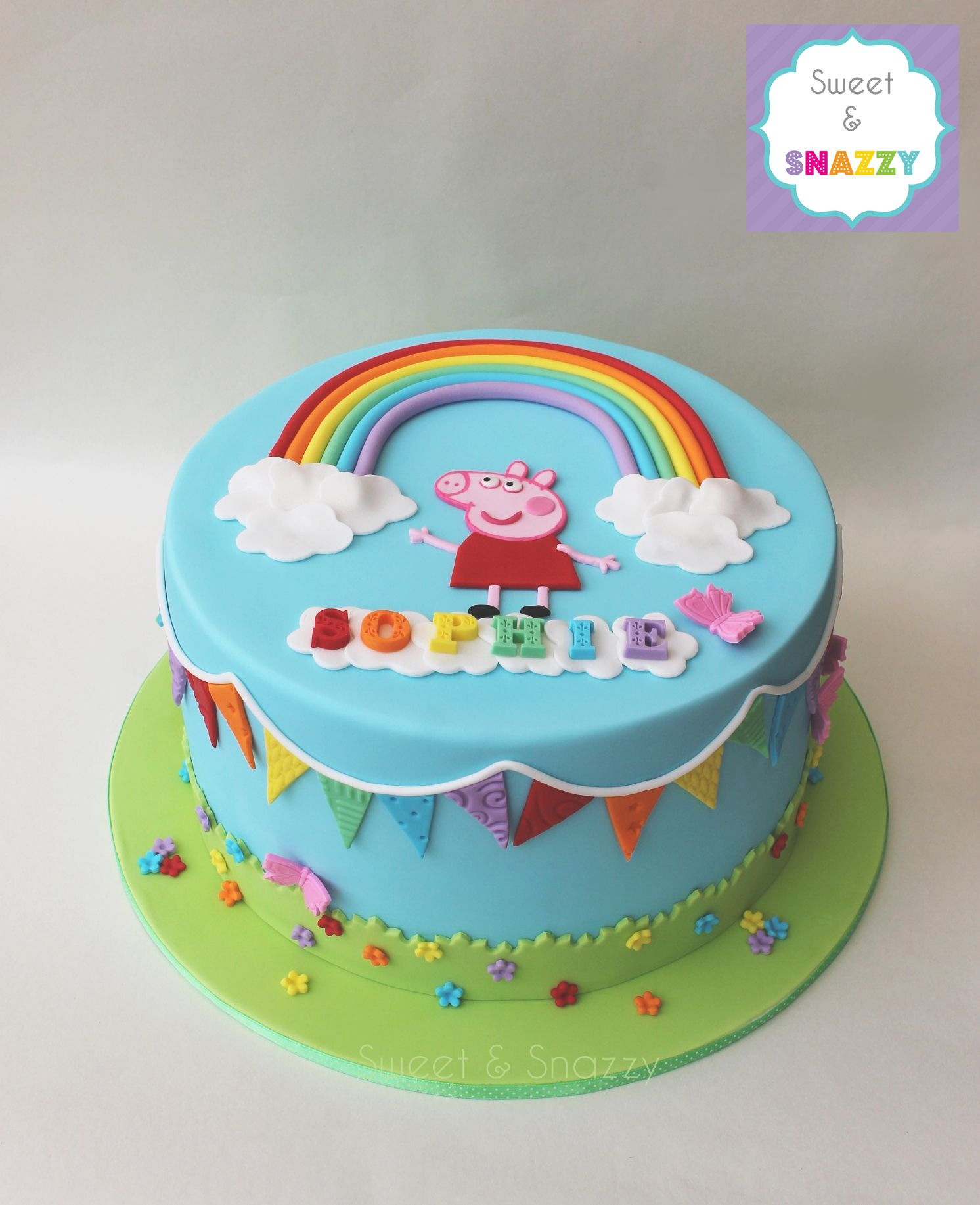 Peppa Pig Cake Peppa Pig Rainbow Cake With Rainbow Bunting By Sweet Snazzy Https Www Facebook C Pig Birthday Cakes Peppa Pig Birthday Cake Peppa Pig Cake