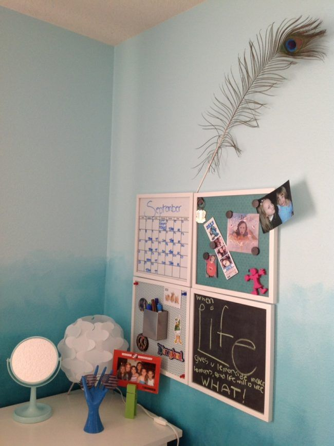 coole bastelideen magnet wand tafel pfau feder ombre wandfarbe blau diy pinterest tafel. Black Bedroom Furniture Sets. Home Design Ideas