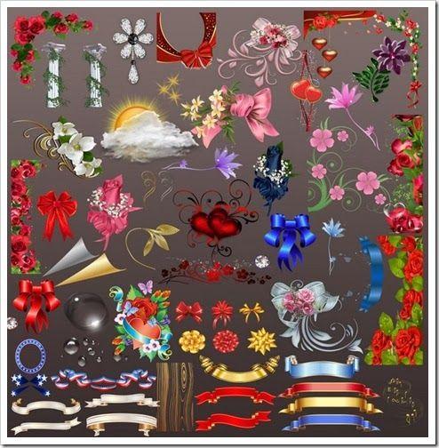 Create Wedding Album Decorative Floral Design With Curtain Clipart