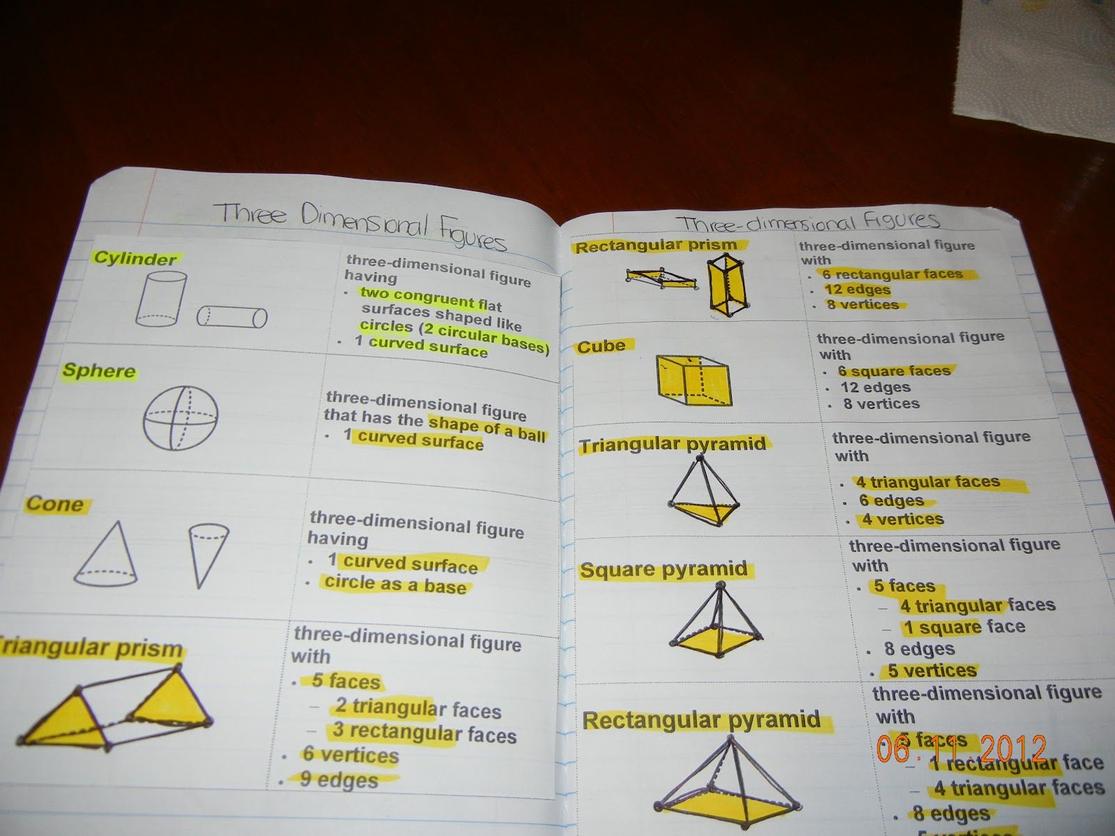 Three Dimensional Figures Journal Pages