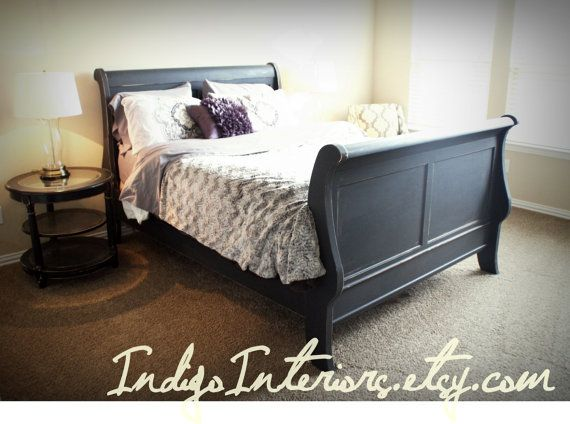 Distressed Black Queen Size Sleigh Bed Sleigh beds