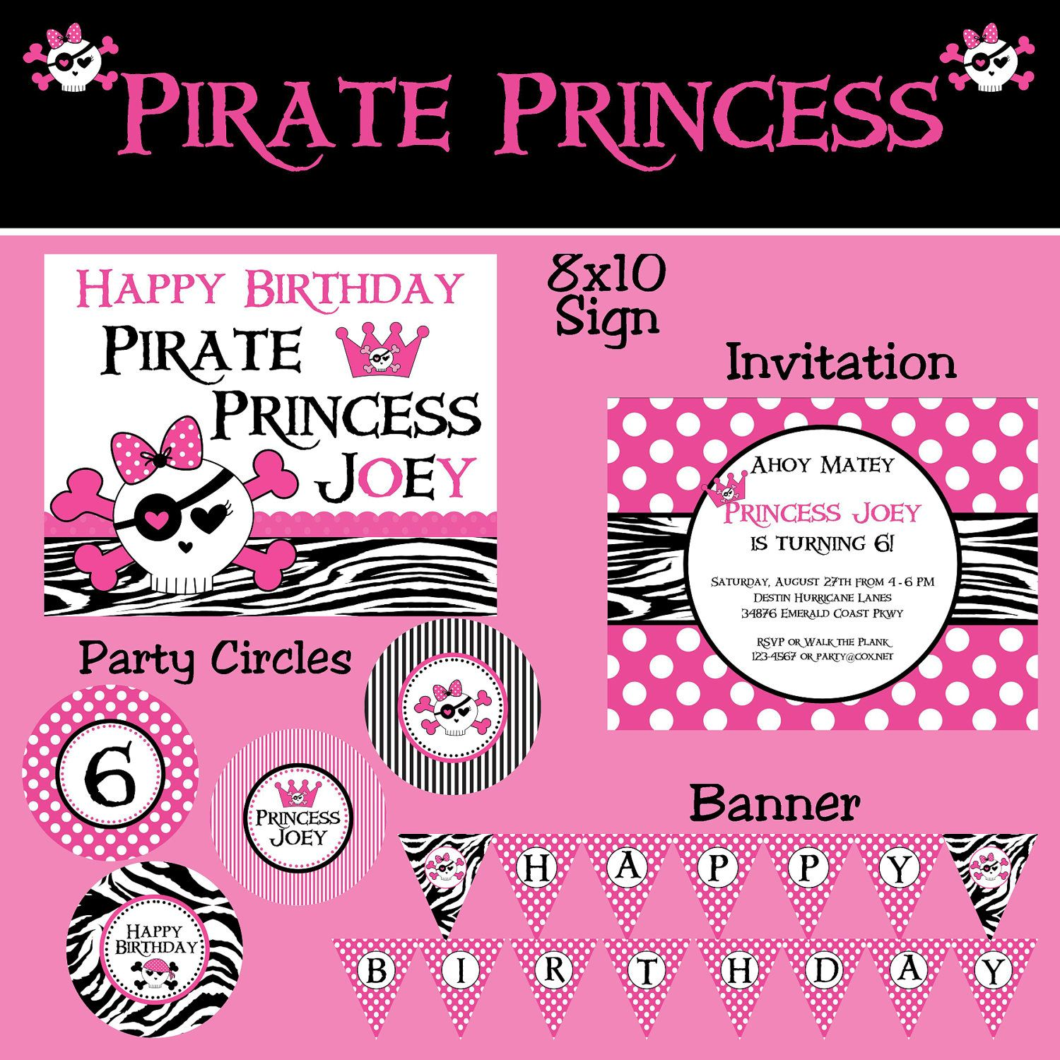 Pink Pirate Princess Party Package - Girl Birthday - PRINTABLE ...