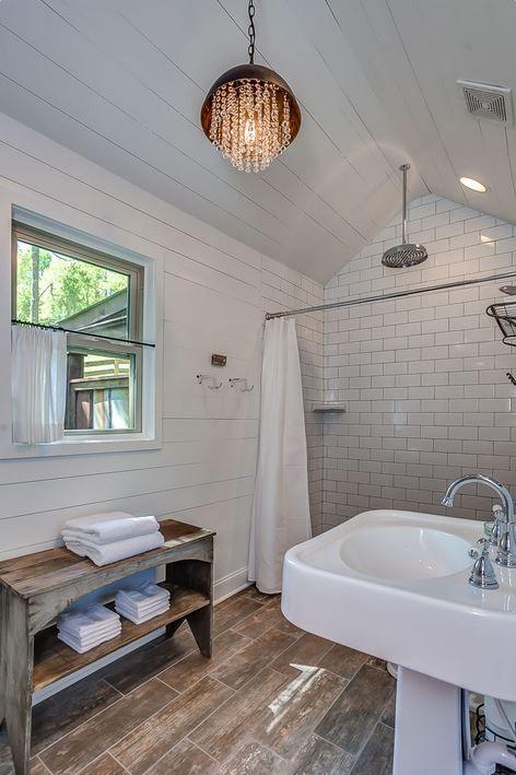 Nest A Pretty Little Cabin Rental In Franklin Tennessee Farmhouse Shower Shiplap Bathroom Bathroom Makeover