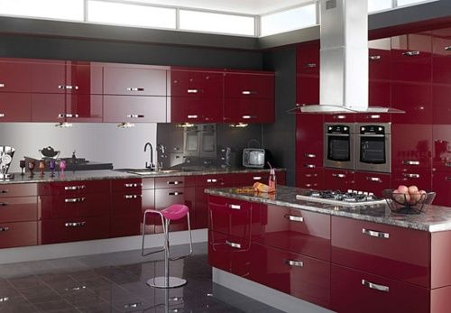 Red Kitchen On Tumblr Red Kitchen Cabinets Modern Kitchen Design Gloss Kitchen Cabinets