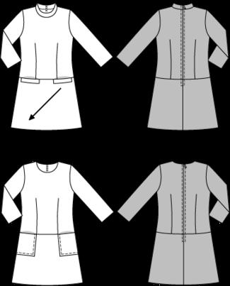 Schnittmuster: Sixties-Kleid - 3/4-Ärmel - Download - Weitere Kleider - Kleider - Damen - burda style