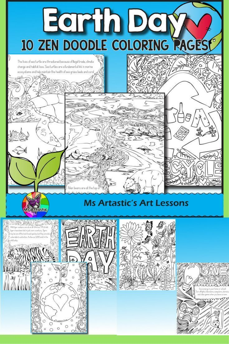 Earth Day Coloring Pages Zen Doodles – Zentangle