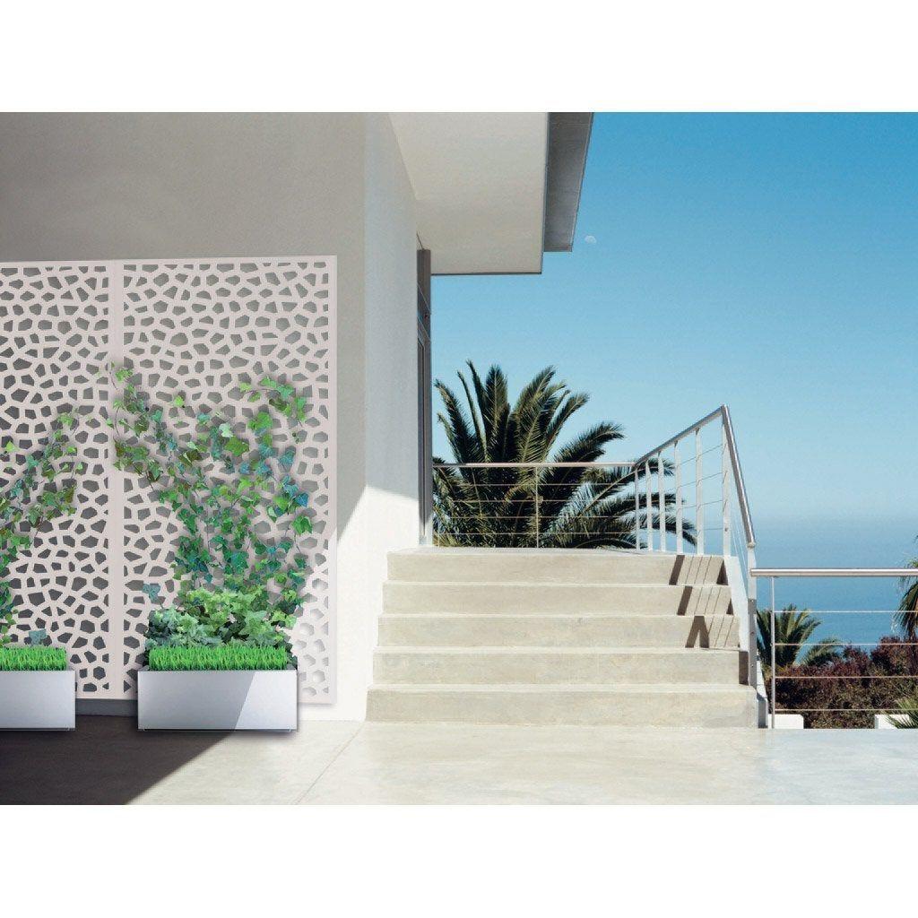 Panneau Treillis Pvc Ajoure Mosaic L 100 X H 200 Cm Blanc Panneau Treillis Treillage Treillis Bois