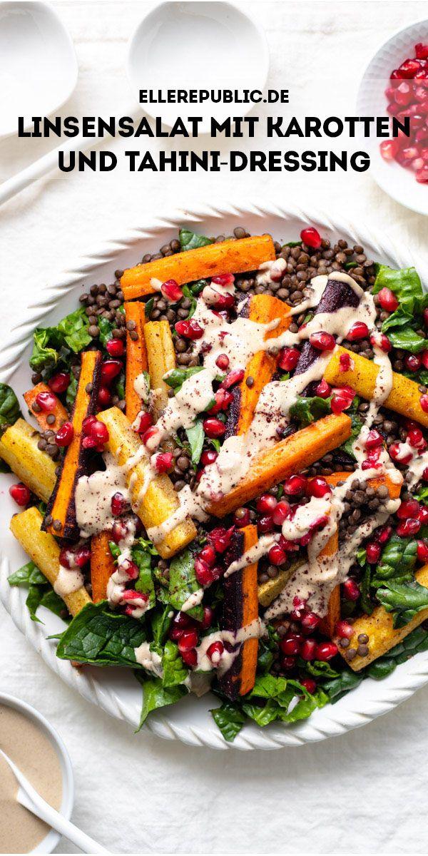Linsensalat mit Karotten und Tahini-Dressing