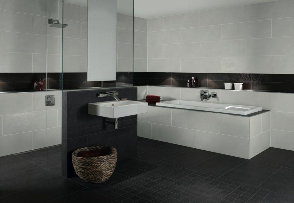 Attraktiv Badezimmer Hinreißend Bad Fliesen Anthrazit Weiß Ideen: A A Bett Mit  Kopfteil Und Led Lampe Serie