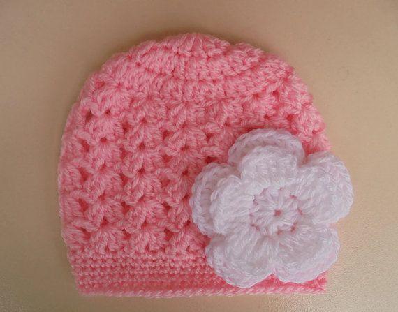 Crochet baby hat newborn girl hat crochet newborn hat pink | DIY ...