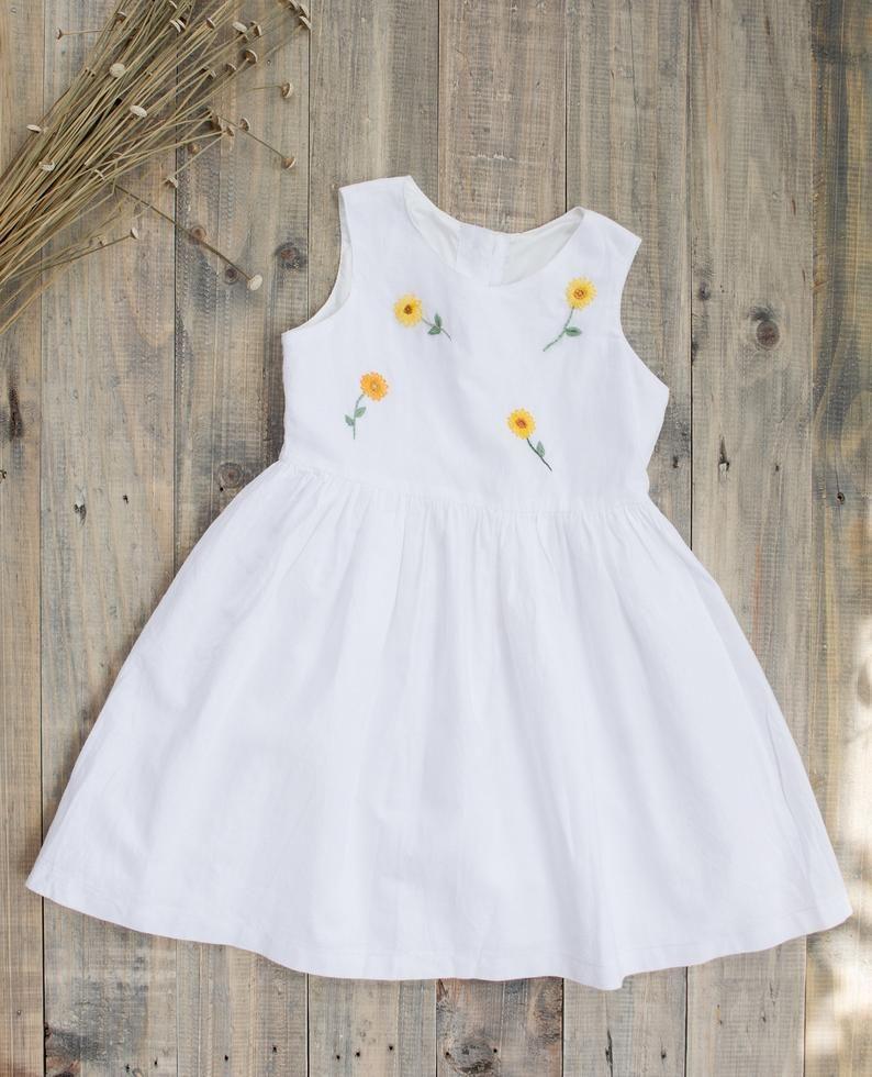 Baby linen dress Girl linen dress Soft linen dress Organic linen dress Baptism linen dress