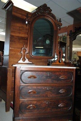 Antique Victorian Burl Walnut Marble Top Dresser Chest
