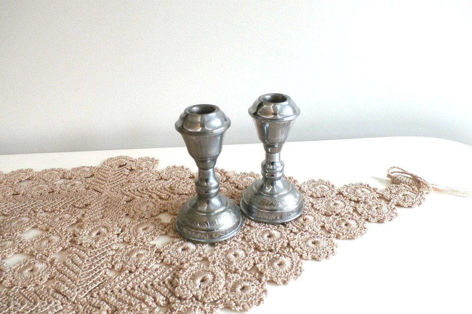 Superb Pair of Cast George II Silver Candlesticks, London