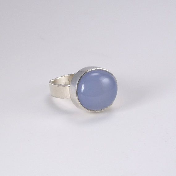 Blue Chalcedony Ring with file work along the band