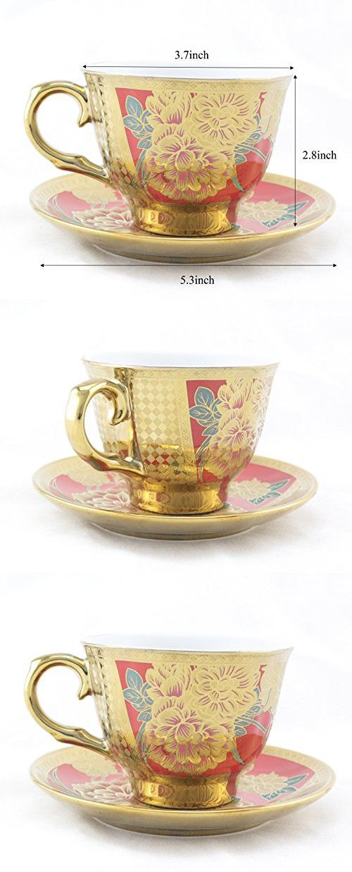 Ambilight Porcelain 6-ounce Coffee Cup and Saucer Flora Chintz with Gold Trim,set of 1,Red,C1(1),outstanding decorative cups
