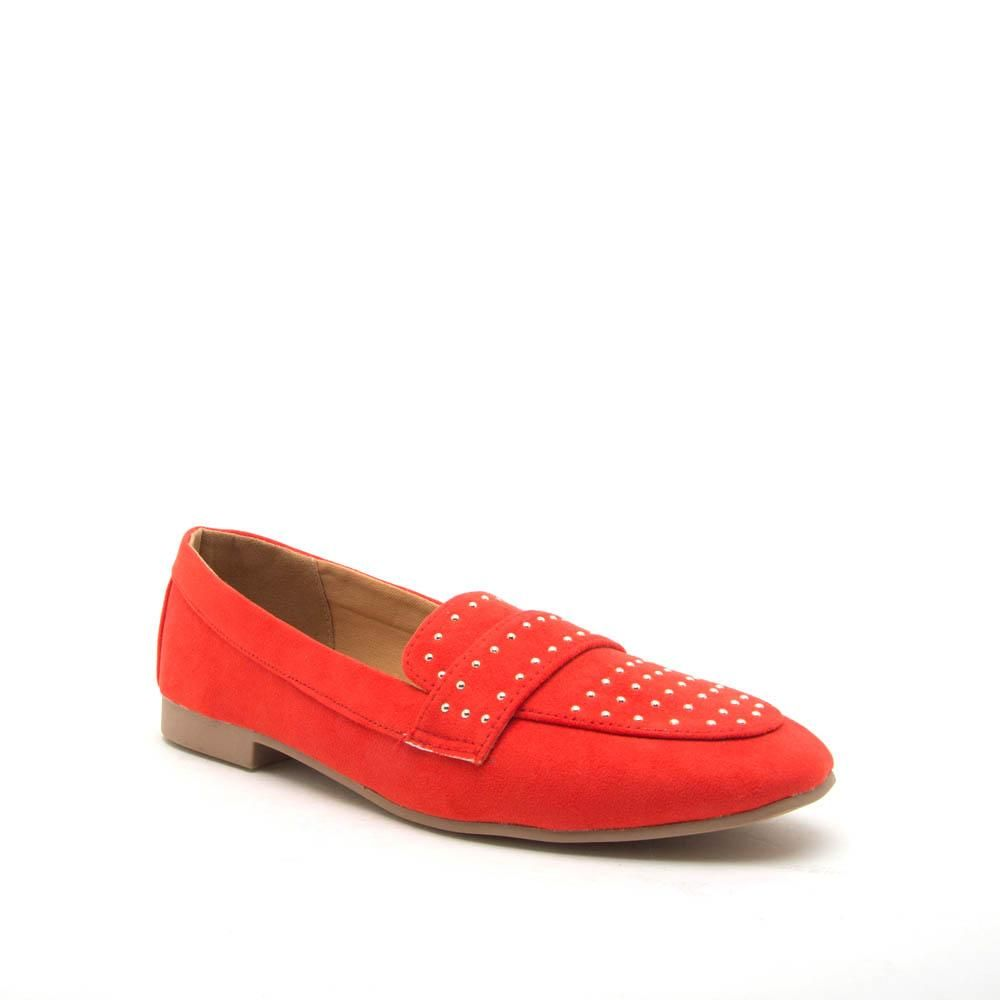 8a03a461acdde Moby-47X Blood Orange Studded Moccasin Ballerinas in 2019
