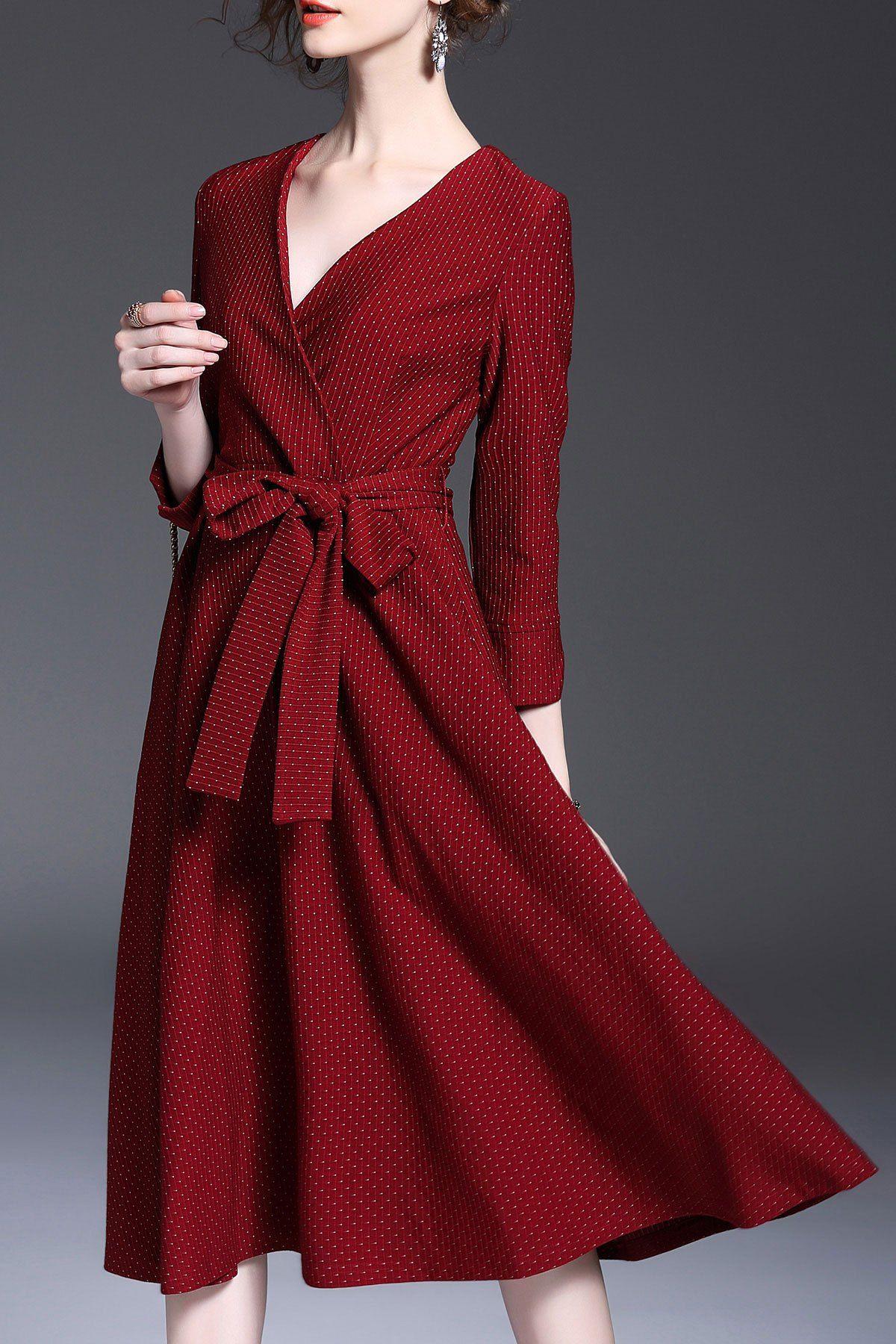cfac5b46b77c T&c.g Red Polka Dot Surplice Dress | Midi Dresses at DEZZAL ...
