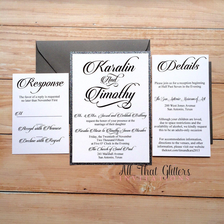 Charcoal Glitter wedding invitation | grey wedding invitation ...